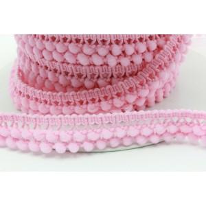 Fita tipo pompons pequenos com duas filas 15mm - cor de rosa