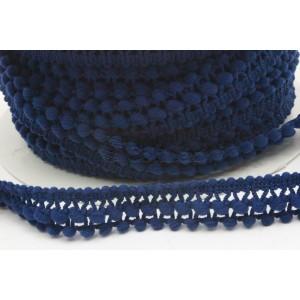 Fita tipo pompons pequenos com duas filas 15mm - azul marinho