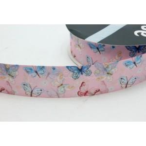 Fita cetim estamapada borboletas 25mm cor 0123 rosa bebe