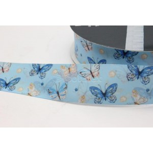 Fita cetim estamapada borboletas 25mm cor 0308 azul bebe