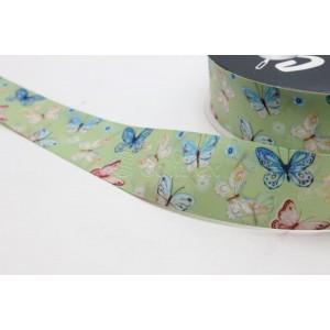 Fita cetim estamapada borboletas 25mm cor 0524 verde agua